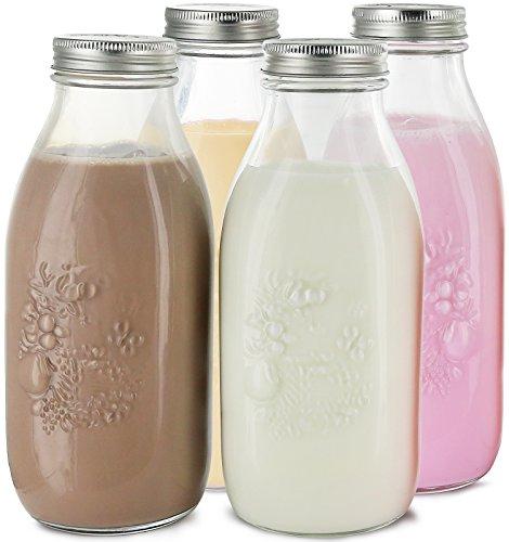 Estilo Dairy Reusable Glass Milk Bottles with Metal Lids Set of 4 338 oz Clear