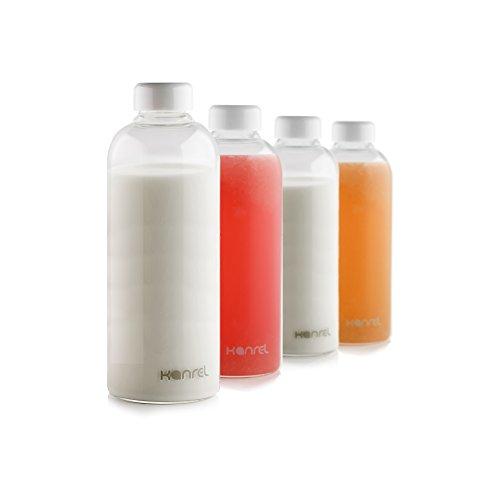 Glass Milk Bottles with lids 32oz 1 x Bottle Reusable White Top Caps Big Portable BPA FREE Leak Proof Drinking Bottle Ideal for Office Desk Car Kitchen Fridge Storage Kids Beverages Baby Milk