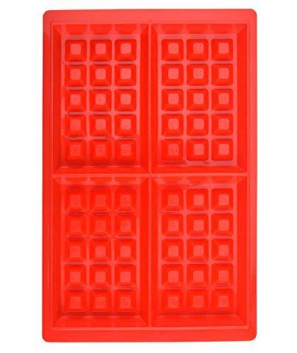 HOYATO Mini 4 Cavity Silicone Waffle Mold MakerPan Red Set of 1 for Cake Chocolate Craft Candy Soap Baking BPA Free