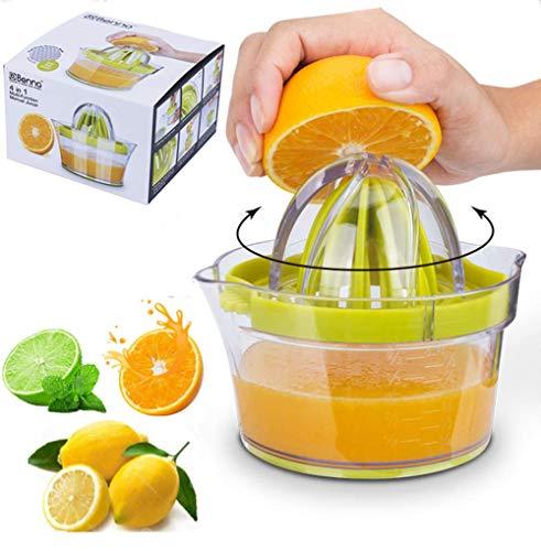 Citrus Juicer Orange Juicer with Strainer Built-in Measuring Cup and Grater Anti-Slip Reamer Extraction Egg Separator 12OZ