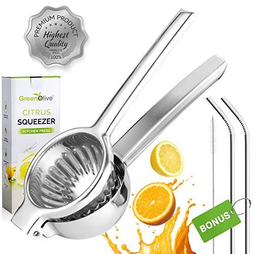 GreenOlive Stainless Steel Lemon Squeezer Press - Large Heavy-Duty Manual Lemon Juicer Hand Held Citrus Juicer - Orange Juicer Extractor Lime Squeezer with Bonus Stainless Steel Straws
