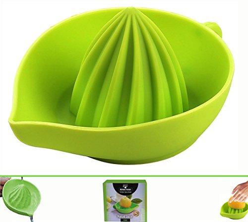 Green Silicone Manual  Lemon Juicer - Superior Construction- Unbelievably Quick- Convenient Spout- Dishwasher Safe