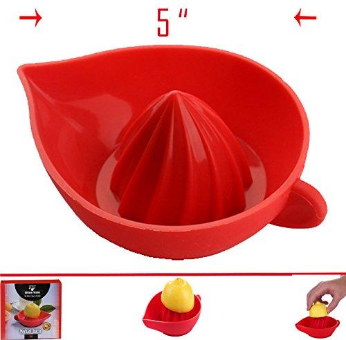 Red Silicone Manual  Lemon Juicer - Superior Construction- Unbelievably Quick- Convenient Spout- Dishwasher Safe