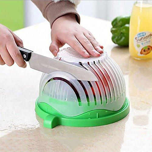 Award Winning Salad Cutter Bowl - New Salad maker Vegetable chopper BPA FREE Dishwasher Safe Cutter for Lettuce or Salad chopper for Salad in 60 Seconds by 1 Step Kitchen