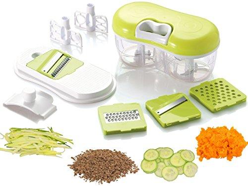 Brieftons QuickPull Food Chopper Twin Chopper  Blender with Mandoline Slicer Grater to Chop Slice Grate Fruits Vegetables Herbs Onions Garlics for Salsa Salad Pesto Coleslaw Puree