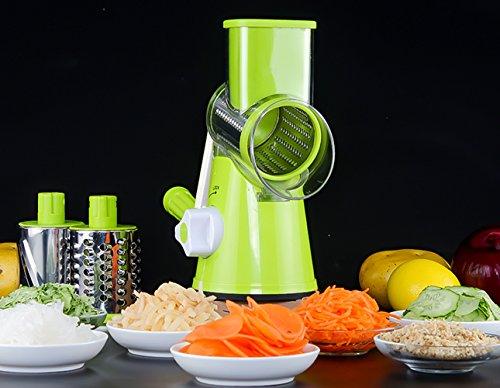 Mandoline Slicer - 3 in 1 Food Processor Chopper Spiral Spiralizer Fruit Salad Vegetable Slicer Cutter Dicer Manual Mini Hand Chopper With Cover  Stainless Steel Cutter Blade 3 IN 1 Spiral Slicer
