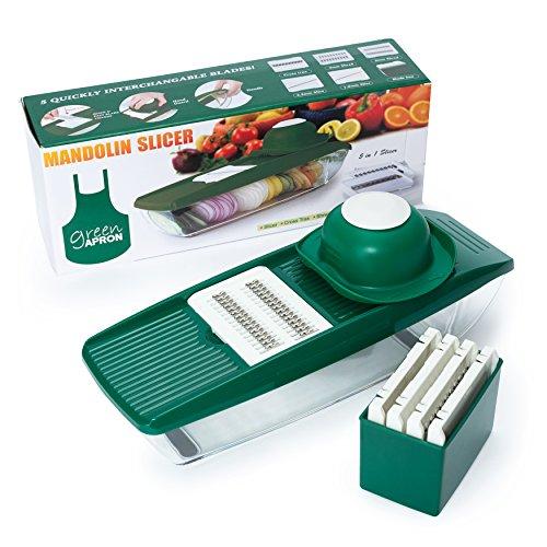 Green Apron Mandoline Slicer  5 Interchangeable Blades Include Vegetable Grater Julienne Slicer Cutter and Peeler Brush Hand Protector and Storage Container  Veggie Slicer and Vegetable Cutter