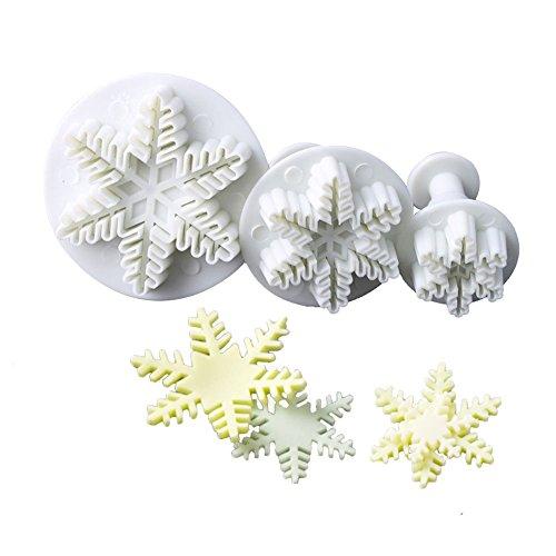 3pcs Snowflake Pattern Plunger Cake Cutter Fondant Cookie Mold Craft DIY Decorating Tools Set