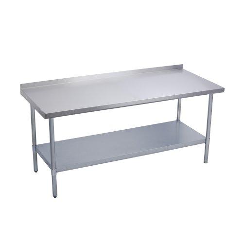 Elkay Commercial Grade NSF Stainless Steel Table with Backsplash Adjustable Height Feet and Undershelf 48 x 24