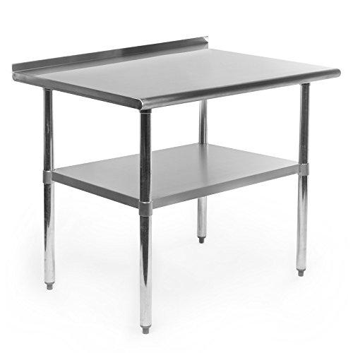 Gridmann NSF Stainless Steel Commercial Kitchen Prep Work Table w Backsplash - 36 in x 24 in