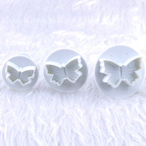 OOOUSE 3 x Butterfly Fondant Cake Biscuit Sugarcraft Plunger Cutter Craft Mold Tool