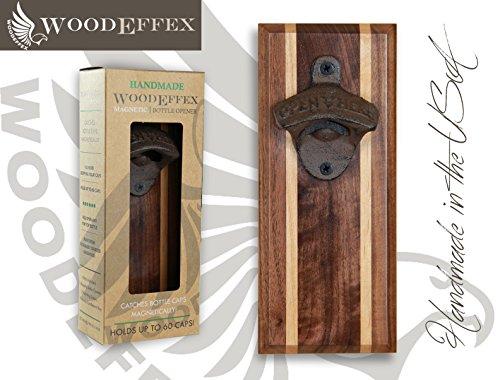 Bottle Opener Magnetic Cap Catcher - Handmade Walnut with Alder Inlay with Antique Bronze Iron Opener - No Personalization