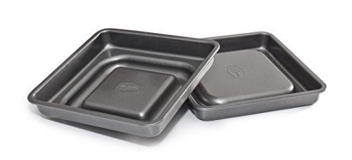 Mrs Fields Bakeware Fill N Flip 9-Inch Locking Layer Cake Set Square Gray
