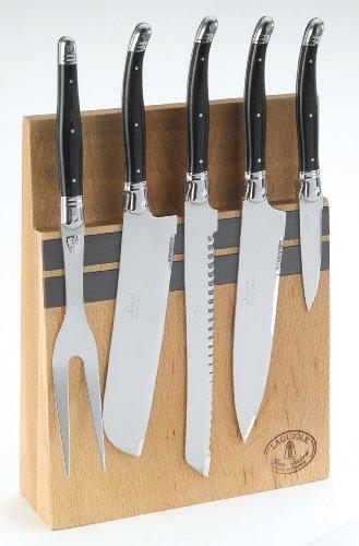 Jean Dubost Laguiole 5-Piece Kitchen Tool Set Black