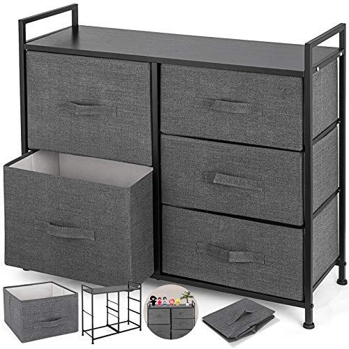 Happybuy Dresser Storage Tower with 5 Fabric Drawer Steel Frame Storage Cabinet Bin Storage Organizer Unit Fabric Cube Dresser Chest Cabinet Light Gray Tall GrayTall