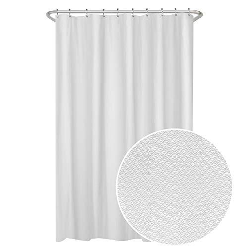 MAYTEX Herringbone Ultimate Waterproof Fabric Shower Curtain or Liner 70 x 72 White