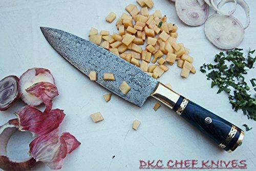 DKC-533-DS-BL Grand Master Chef Knife Blue Handle Damascus Steel DKC Knives 168 oz 12 Long 75 Blade Blue Handle Damascus Blade