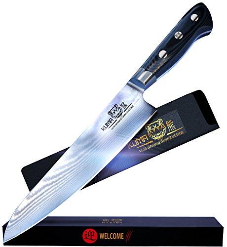 Kuma Japanese Damascus Chef Knife - PREMIUM JAPAN VG10 STEEL - Razor Sharp 8 Cooking Knife for Carving Slicing Chopping - FINE MICARTA HANDLE - Pro Kitchen Multi Purpose Knives - W Guard