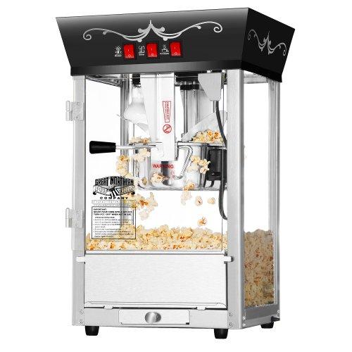 Great Northern Popcorn Antique Style Popcorn Popper Machine, 8-ounce, Black