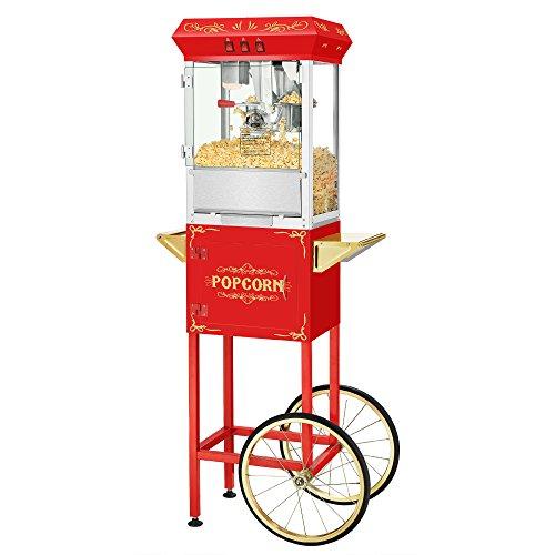 Superior Popcorn Red Movie Night Popcorn Popper Machine Cart, 8 Ounce