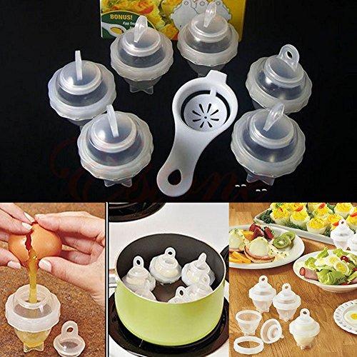 Hot Hard Boil Egg Cooker 6 Eggies with Bonus Egg White Separator Cooking Tool