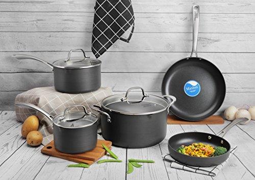 COOKSMARK 8PCS Durable Hard-Anodized Aluminum Nonstick Cookware Set Pots and Pans Set with Glass Lids Dark Gray