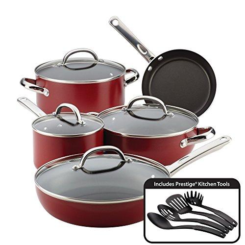 Farberware Buena Cocina Aluminum Nonstick Cookware Set 13-Piece Red