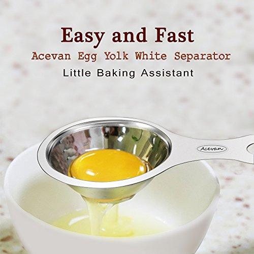 Egg Separator Acevan Egg Yolk White Separator 304 Stainless Steel 188 Egg Divider Filter - Dishwasher Safe Food Grade Cooking Kitchen Gadget - Silver