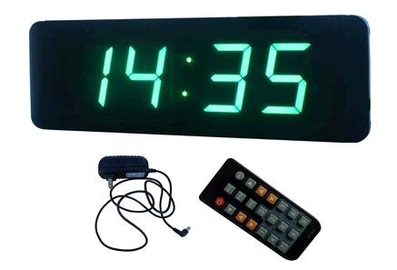 GOODRELIISH 23 4 Digits LED Digital Clock Support Countdownup Timer in Minutes Seconds IR Remote Control Green Color