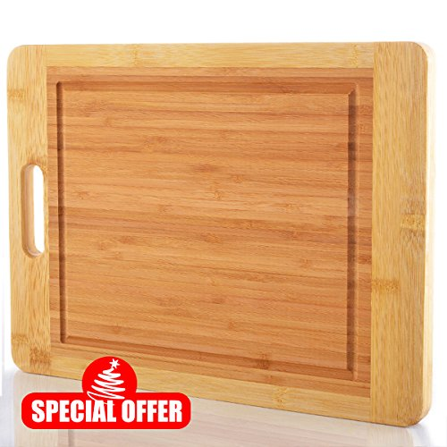 Comllen Thick Strong Bamboo Cutting Board with Drip Groove and Handle Extra Large 15 x 12 Inch Bamboo Wood Cutting Board