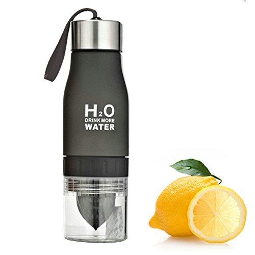 H2O Lemon  Fruit Infuser Water Bottle - New Version - Leak Proof - BPA Free Black