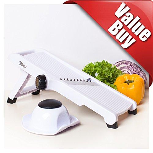 3Haus Adjustable White Mandoline Slicer- Vegetable Slicer- Food Slicer- Julienne Cutter Mandolin Stainless Steel Plastic with Finger Guard - Gift