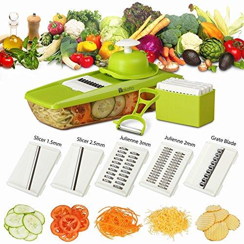 Mandoline Slicer  Peeler eBook - Potato Slicer - Vegetable Cutter - Mandolin Slicer for Cucumber Onion with 5 Stainless Steel Blades - Julienne Vegetable Slicer - Food Container - Mandolin
