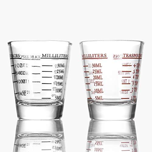 Beautyflier Shot Glasses Measuring cup Liquid Heavy Glass Wine Glass Espresso Shot Glass 26-Incremental Measurement 1oz 6 Tsp 2 Tbs 30ml