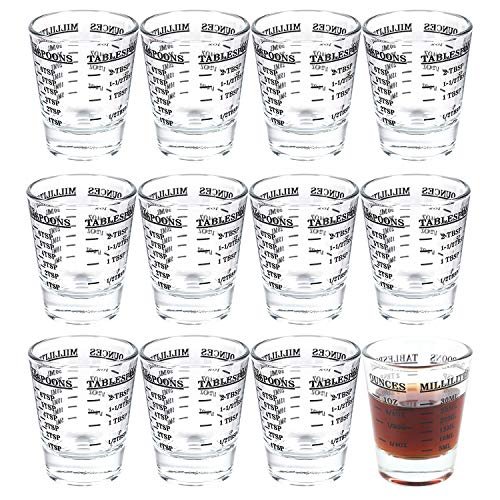 Kingrol 12 Pack Shot Glasses with Heavy Base 1 Ounce Measuring Glass