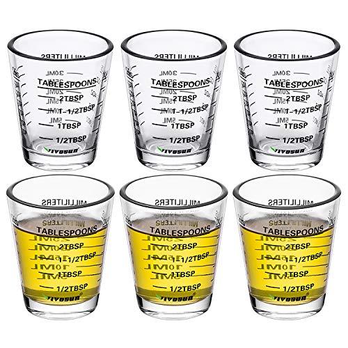 VIVOSUN Measuring Cup Liquid Heavy Glass Wine Glass 26-Incremental Measurement 1 OZ 6 TSP 2 TBSP 30 ML 6 pack