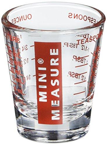 Harold Import Company Mini Measure Multi-Purpose Liquid Dry Measuring Shot Glass Heavy Glass 26-Incremental Measurements Red