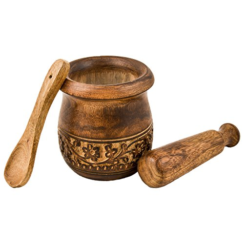 GoCraft Wooden Engraved Mortar and Pestle Grinder for Herbs Spices and Kitchen Usage Natural Mango Wood Engraved  Handmade Mortar and Pestle - 35 in