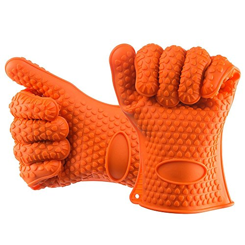 Heat Resistant to 450℉ Silicone Kitchen Potholder Gloves Oven Mitts for Cooking Baking Barbecue BBQ Grilling 1 pair Orange