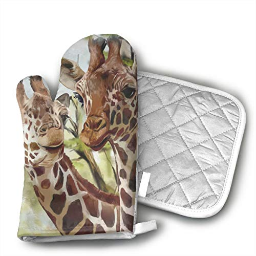 QEDGC Watercolor Deer Giraffe Long Kitchen Cotton Coating Oven Mitts Heat Resistant Potholder Gloves Microwave Oven Glove