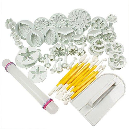 HOSL Cake Tools 14 sets 46pcs Flower Fondant Cake Sugarcraft Decorating Kit Cookie Mould Icing Plunger Cutter Tool White