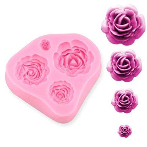 SUNKOOL 4 Size Roses Flower Silicone Cake Mould Chocolate Sugarcraft Decorating Fondant Fimo Tool