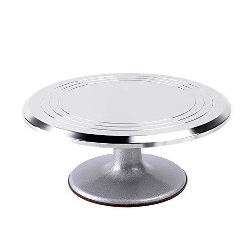 Ohuhu Aluminium Cake Turntable 12 Revolving Rotating Cake Decorating Stand with Rubber Bottom