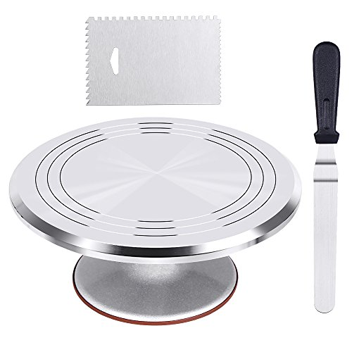 Kootek Aluminium Alloy Revolving Cake Stand 12 Inch Cake Turntable with 127 Angled Icing Spatula and Comb Icing Smoother Banking Cake Decorating Supplies