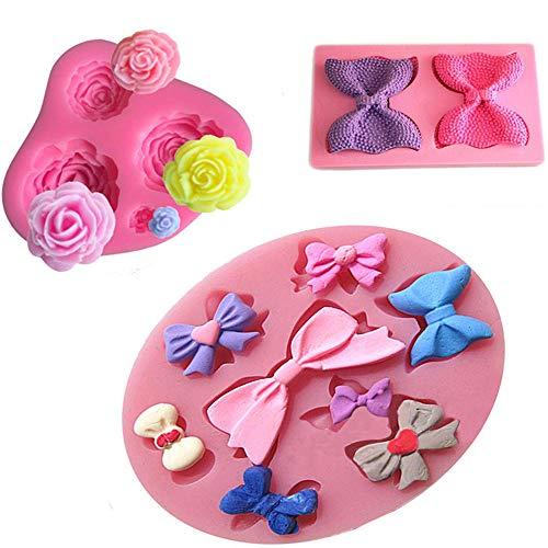 Silicone Mini Bow Cake fondant Molds - Cake Decorating Fondant with Rose Flower Mini Bows Cutter Pink