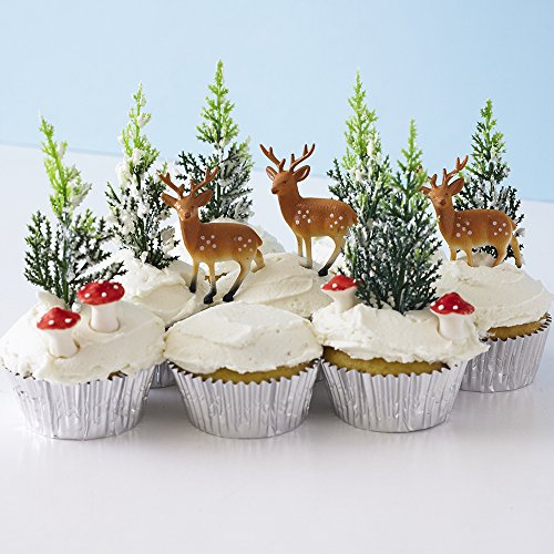 Winter Woodland Cupcake Decorating Display Kit 6 Deer Pick Novelty Toppers 12 Pine Tree Novelties 6 Red Sugar Mushrooms 30 Silver Foil Baking Cups